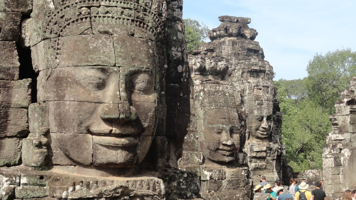 Angkor Wat Bayon Temple Faces Cambodia