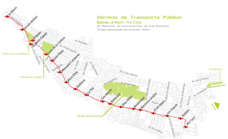 Service Map for City Center to Quito Mariscal