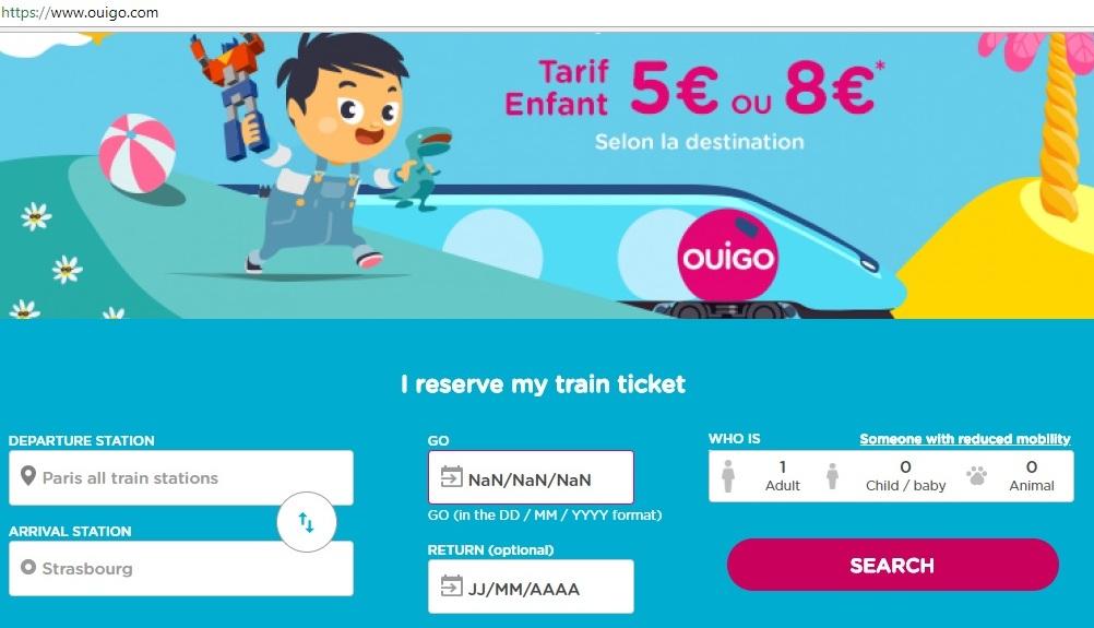 Ouigo - Search Screen
